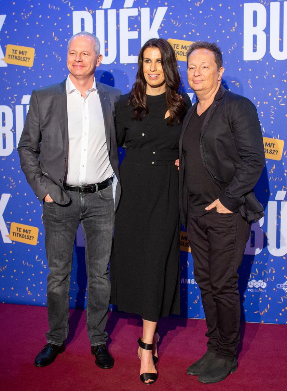 Zákonyi S. Tamás, Ditz Edit és Geszti Péter a BÚÉK producerei a vígjáték 2018 decemberi premierjén.