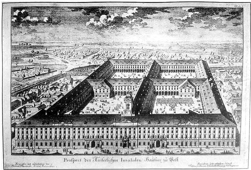 Az Invalidusok-házának terve Kleiner rézmetszetén 1740-ben.