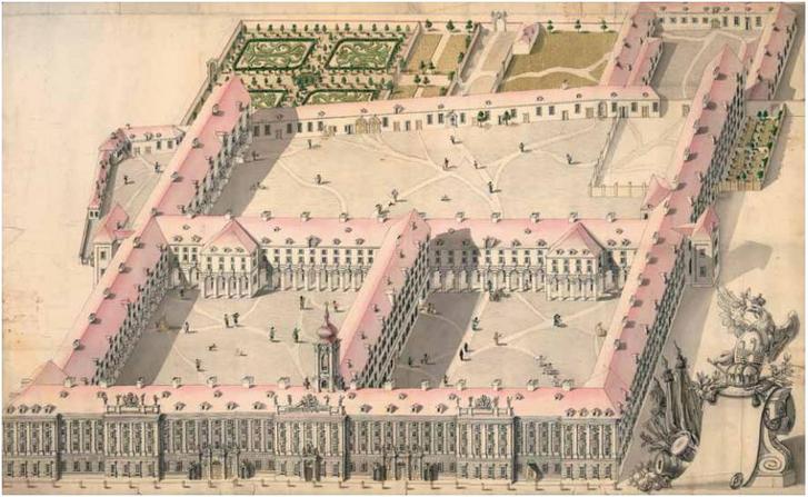 A mai városháza épületének legkorábbi - valós - ábrázolása. Az akkori városfalnál (a mai Károly körútnál) véget ért a ház, és soha nem is épült meg.