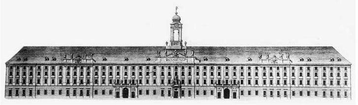 Az épület főhomlokzata Kleiner metszetén