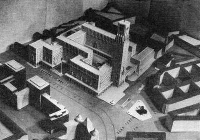 Kertész K. Róbert és Weichinger Károly győztes terve 1940-ből. A főbejárat a Deák térre néz, az útban álló templomot elbontották volna
