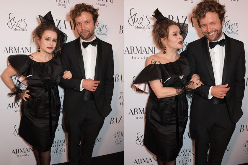 Helena Bonham Carter és 21 évvel fiatalabb pasija, Rye Dag Holmboe a Harper's Bazaar Women Of The Year Awardson mutatkoztak együtt.