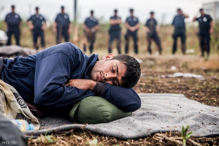 Menekült alszik a szerb-magyar határ közelében Horgosnál 2016. július 26-án.