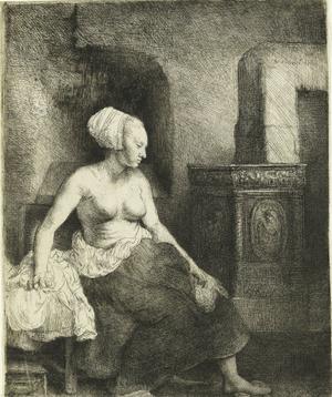 Rembrandt Harmenszoon van Rijn: Kandalló mellett ülő női félakt, 1658