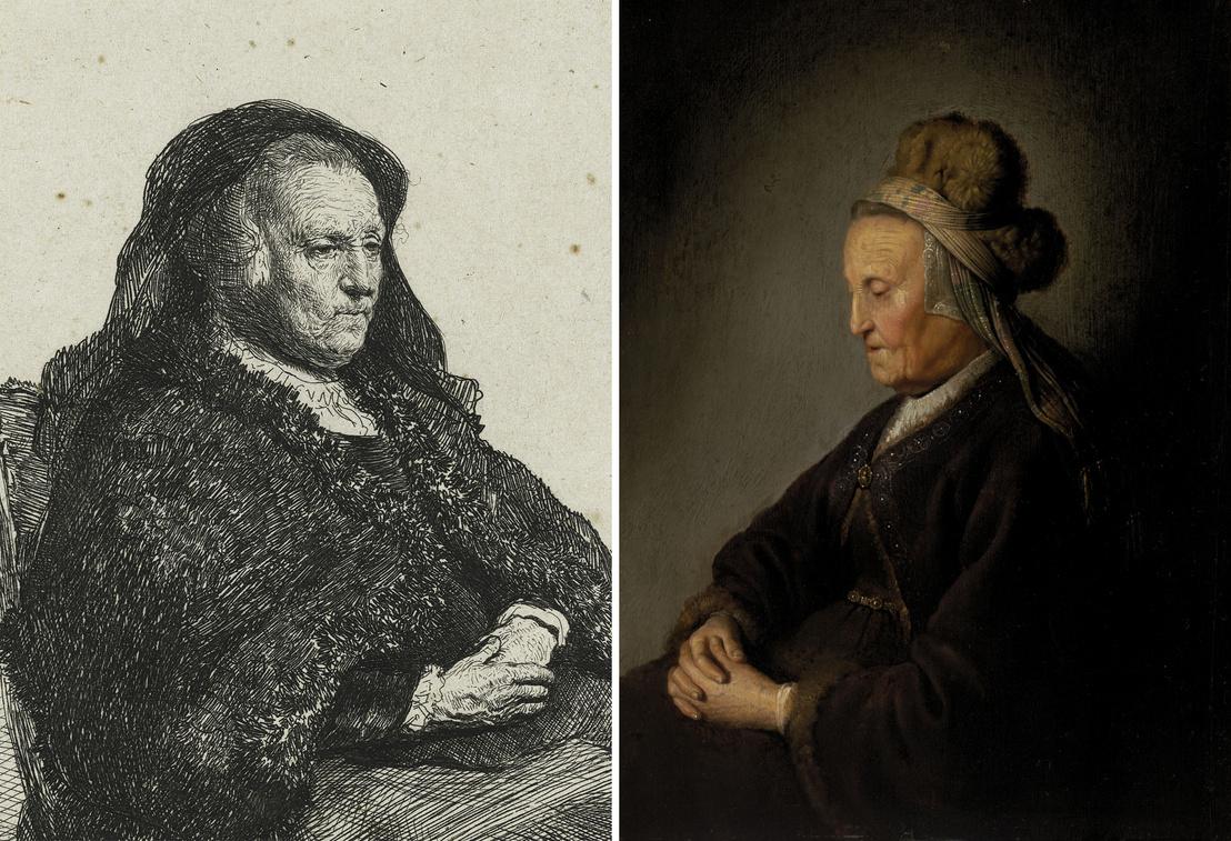 """Rembrandt Harmenszoon van Rijn: Rembrandt anyja, 1631 körül / Gerrit Dounak tulajdonítva: """"Rembrandt anyja"""" , 1631 után (részlet)"""
