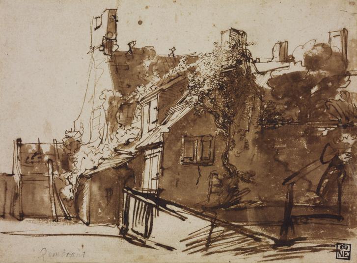 Rembrandt Harmenszoon van Rijn: Holland ház napfényben, 1635/36
