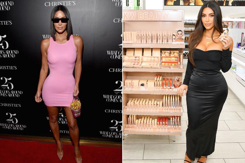 Kim Kardashian 2018 augusztusában és 2019 októberében.