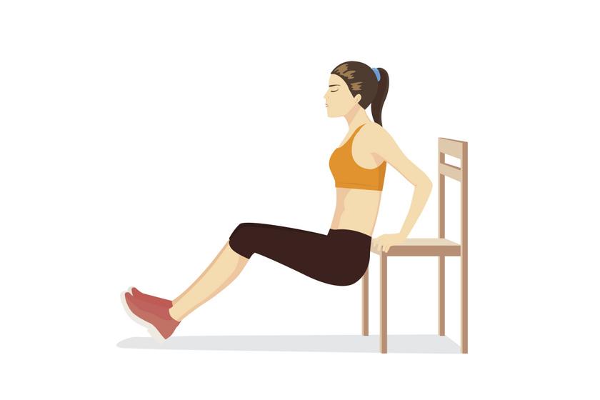 A hátsó tolódzkodás remek gyakorlat elsősorban tricepszre. Figyelj rá, hogy a lehető legszűkebb legyen a fogás, ugyanis minél szélesebb, annál inkább a mellizmaid kapcsolnak be. Egyenes, függőleges felsőtesttel engedd le magadat addig, míg a felkarod párhuzamos nem lesz a talajjal. Könyököd hátrafelé, feneked lefelé, tekinteted pedig előre nézzen. Innen a tricepsz erejével nyomd ki magad.
