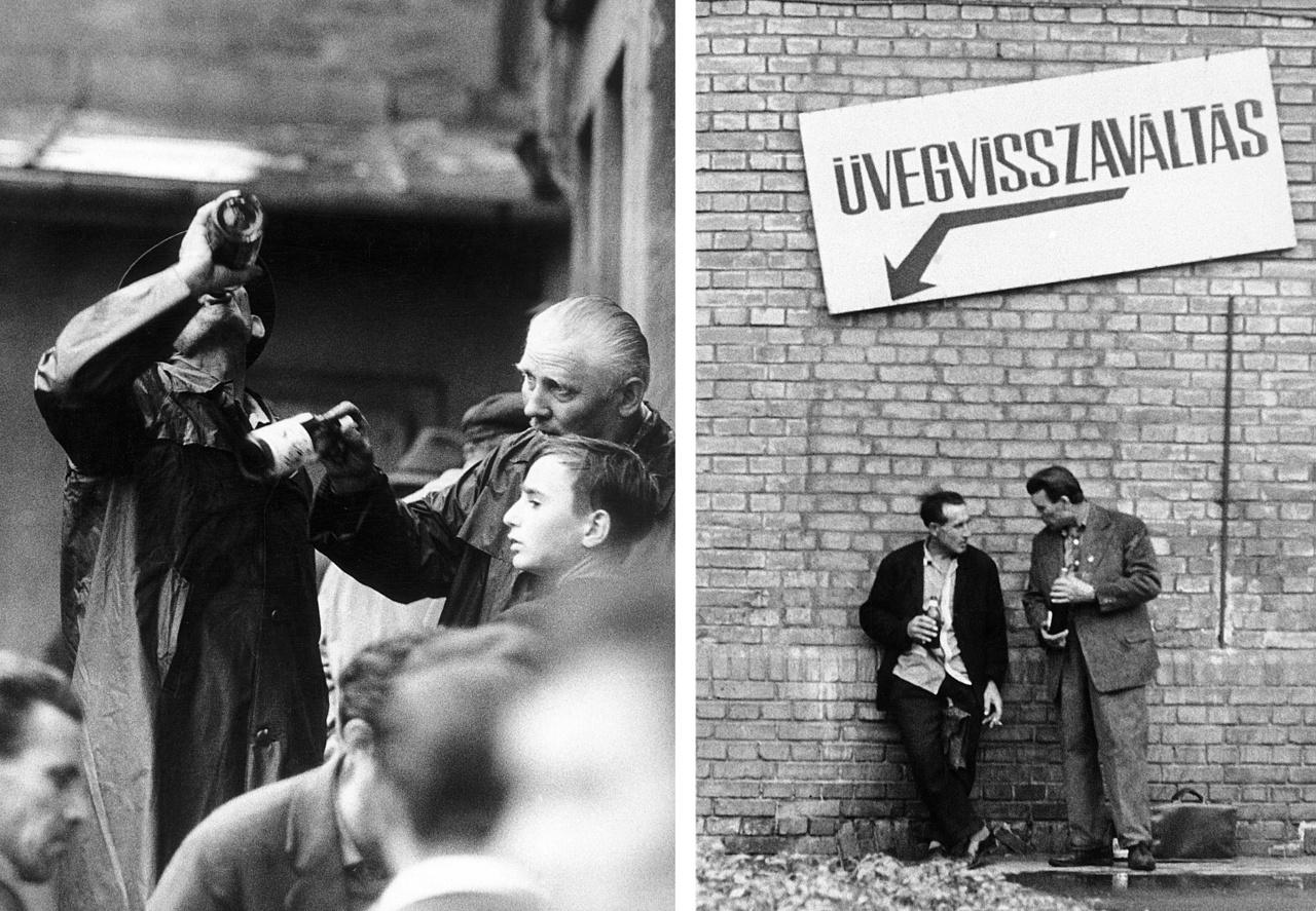 Fizetésnap Miskolcon, 1973-ban. A KSH akkori jelentése szerint a magyarok átlagosan háromszor több pénzt költöttek alkoholra, mint élelmiszerre.
