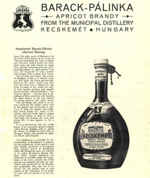 A Führer-féle barackpálinka üvege és külföldi reklámja a harmincas-negyvenes évekből