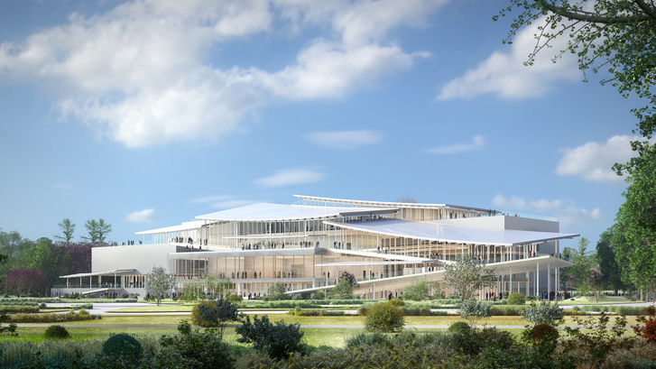 A japán SANAA építésziroda által tervezett Új Nemzeti Galéria végleges látványterve - ez már valószínűleg nem épül meg.