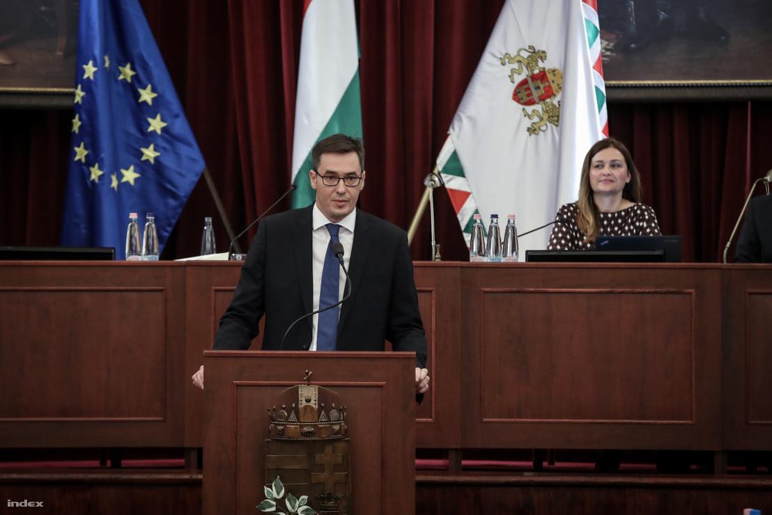 Karácsony Gergely főpolgármester a Fővárosi Közgyűlés alakuló ülésén a Városháza dísztermében 2019. november 5-én