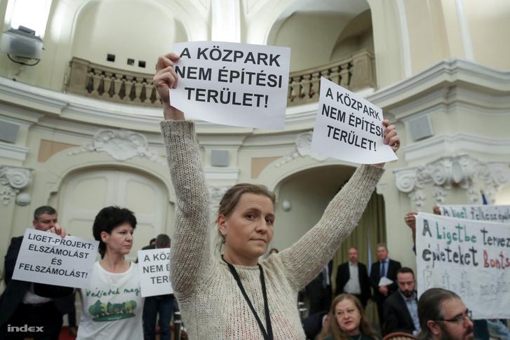 Ligetvédők a Városliget-beruházás vitájánál az építkezések leállítását és népszavazást követeltek