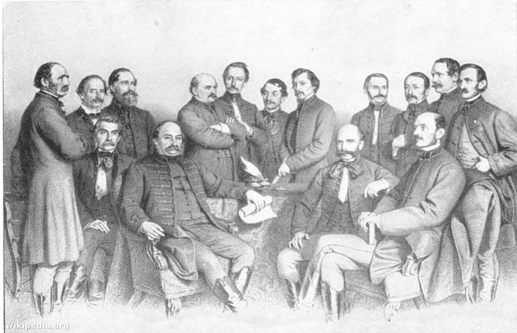 A Pesti Egyetem Orvoskarának tanárai, 1863-ban. Semmelweis Ignác keresztbe tett karral áll. Jobbra Balassa János ül, balra Diescher János, Semmelweis pesti hivatali utódja áll