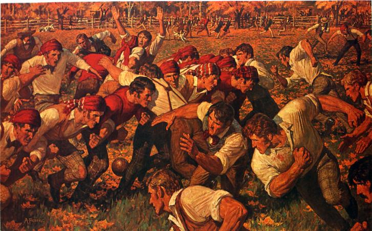 The First Game, vagyis az első meccs című festmény Arnold Fribergtől, aki a Rutgers-Princeton-mérkőzést örökítette meg művén. A festményen a csapatok és a nézők is szerepelnek.