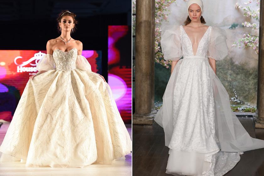 A legdivatosabb menyasszonyi ruhák jövőre a puffos ujjú kreációk lesznek. A '80-as éveket idéző trend hangsúlyozza a vállat, elegáns hatást kelt, és még a legegyszerűbb ruhákat is feldobja.