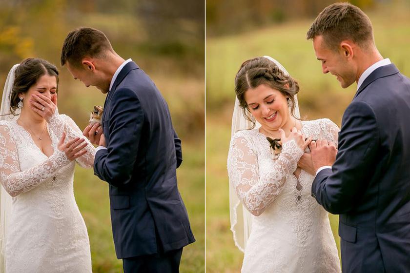Ennél aranyosabb fotók még nem készültek esküvőn: a vőlegény teljesítette szerelme nagy vágyát