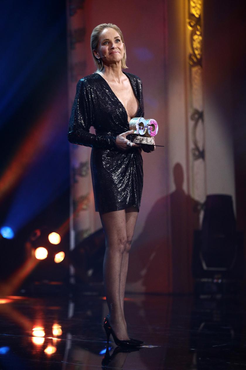 Sharon Stone nagyon dögös volt ebben a szexi ruhában.