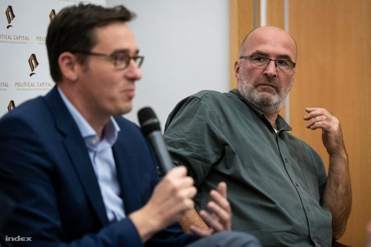 Pikó András és Karácsony Gergely egy konferencián 2019. október 30-án.