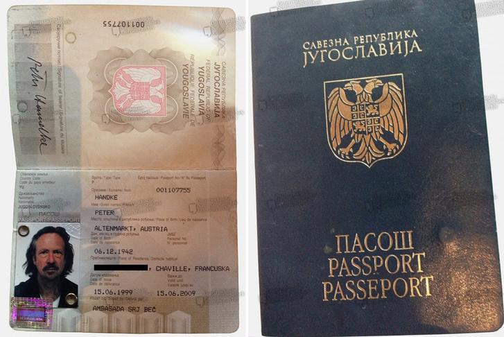 Peter Handke Nobel-díjas osztrák író 1999-ben kiállított jugoszláv útlevele