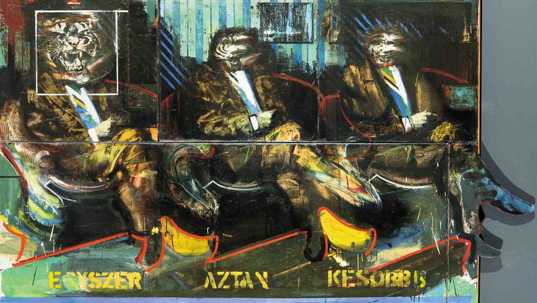 Évtizedekig lappangott a tigrisfejű elvtársak átalakulását ábrázoló festmény