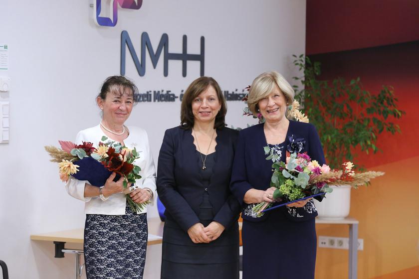 Dr. Kissné Akli Mária, az európai műsorszórás egyik hazai szaktekintélye, Karas Monika és és Kudlik Júlia
