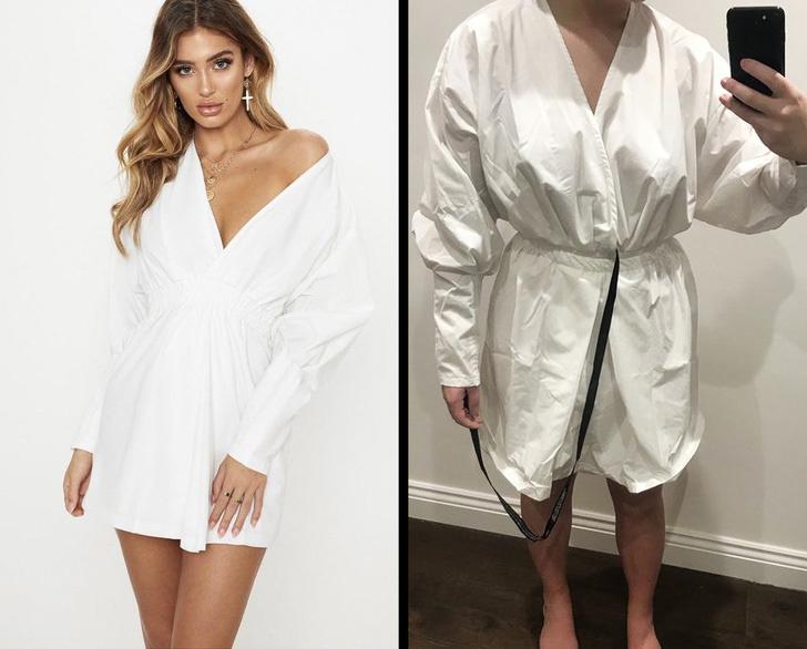 A csinos, nőies fehér ruha helyett egy gyűrött, köntösre vagy orvosi köpenyre emlékeztető ruhadarabot kapott.