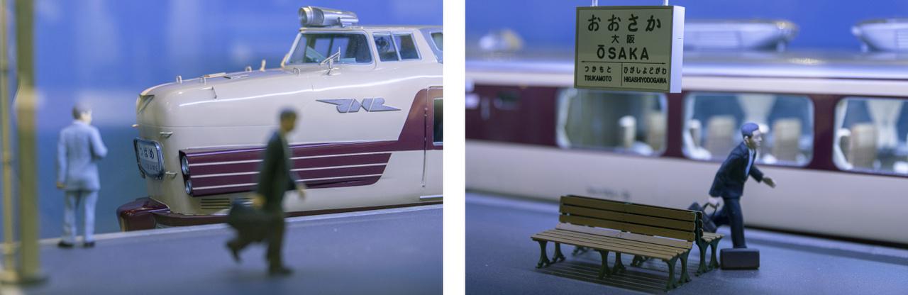 Két részlet az oszakai vasútállomás diorámájából, a KuHa motorvonat makettjével, peronon várakozó utasokkal.