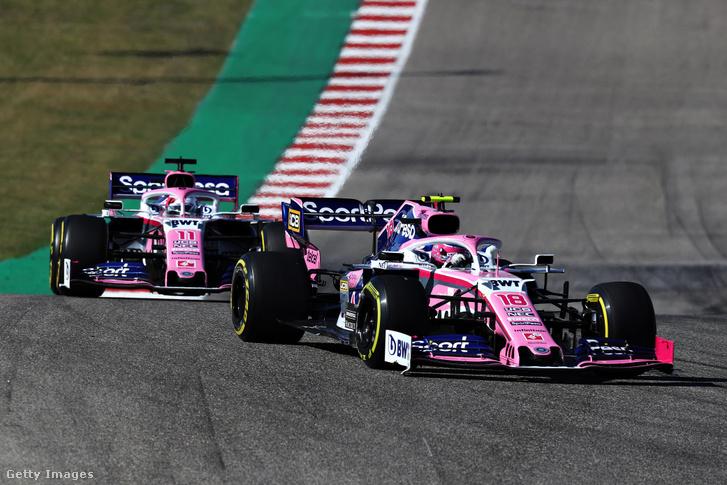 A Racing Point RP19-es autója is Mercedes motorral megy, a képen épp Éance Stroll és Sergio Perez versenyez az Amerikai Nagydíjon