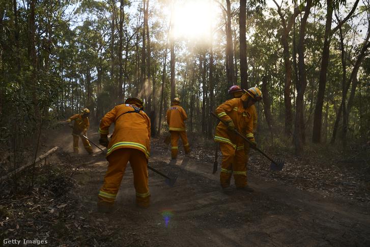 Tűzoltók dolgoznak a tűz megfékezésén a Gospers hegyekben szerdán