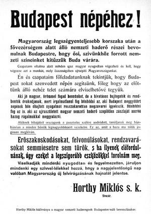 Horthy kiáltványa Budapest népéhez