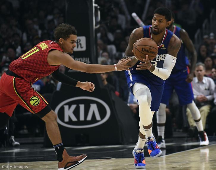 Trae Young (Atlanta Hawks) és Paul George (Los Angeles Clippers)