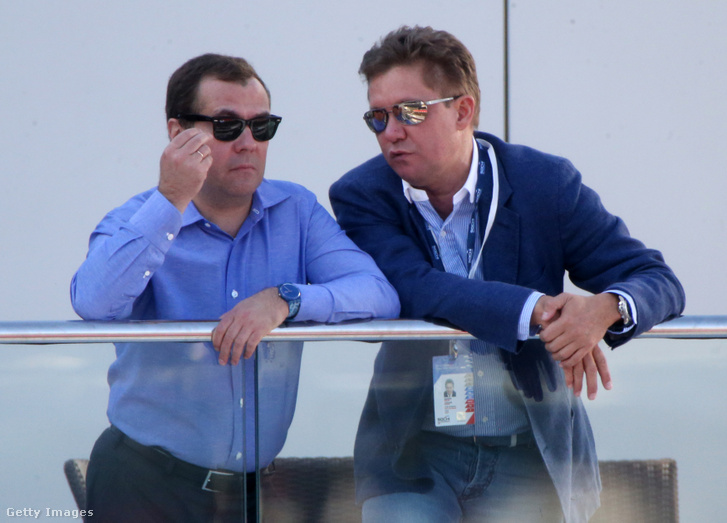Dimitrij Medvegyev és Alexej Miller a 2014-es Orosz Nagydíjon Szocsiban