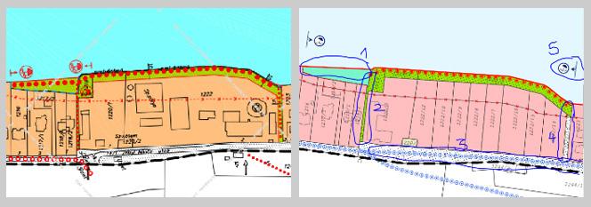 Bal oldalon a jelenleg hatályos vízpart-rehabilitációs tervek, jobb oldalt pedig az új partvonaltervek. Balatonvilágoson egy 50 méteres szakaszt vennének el a partból, amelyet parti sétány helyett már vízgazdálkodási területként jelölnek.