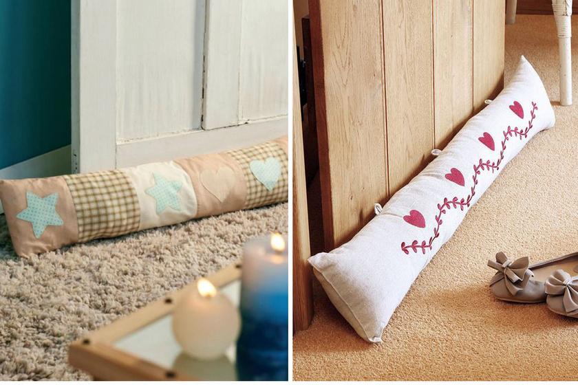 A huzatfogó párna készülhet egy egyszerű téglalap alakú szövetcsíkból, amelyet szivaccsal tölt az ember.