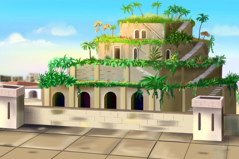 Egy rajz Szemiramisz függőkertjéről. Ilyen lehetett, ha valóban létezett.