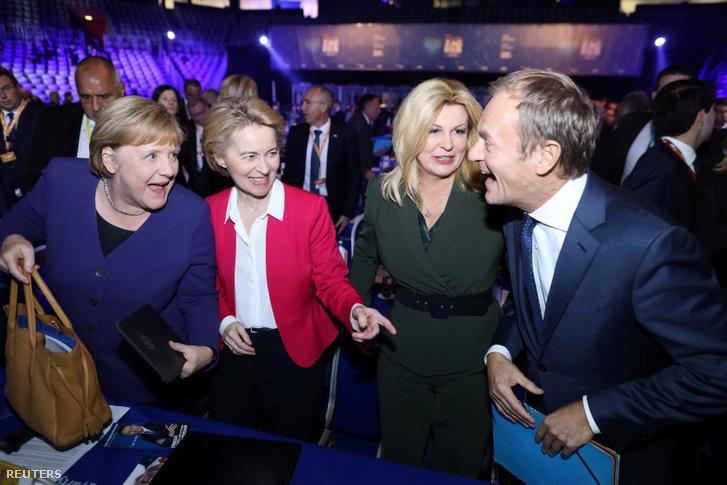 Angela Merkel, Ursula von der Leyen és a horvát elnök Kolinda Grabar Kitarovic, az újonnan megválasztott Néppárti elnökkel, Donald Tuskkal Zágrábban