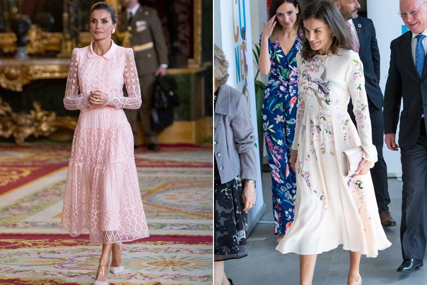 A királyné gyakran hord nőies eleganciát sugalló, halvány vagy púderrózsaszín árnyalatban pompázó, lágy esésű egészruhákat. Nemcsak csinosak és kifinomultak, de még nádszálvékony derekát is kihangsúlyozzák.