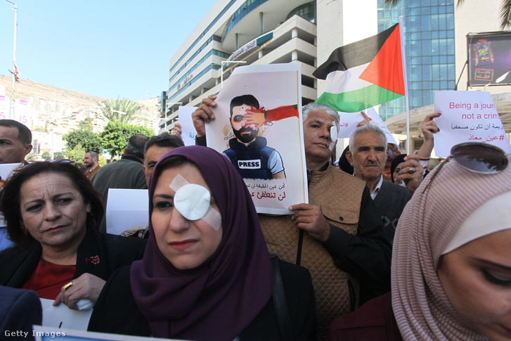 Tüntetés Ciszjordániában 2019 november 17-én