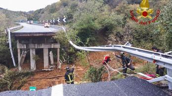 Leszakadt az autópálya az észak-olaszországi ítéletidő miatt