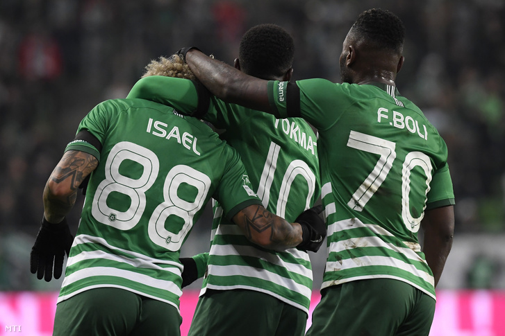 A három ferencvárosi gólszerző, Isael Barbosa, Tokmac Nguen és Franck Boli (b-j) a Ferencvárosi TC - ZTE FC mérkőzésen a Groupama Arénában 2019. november 24-én