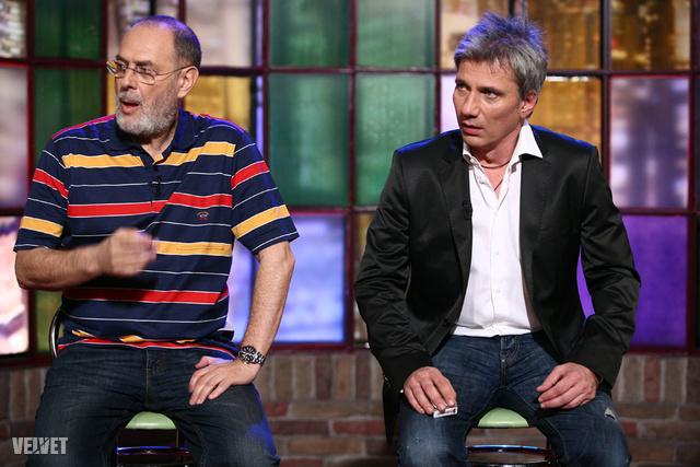 Boros Lajos és Bochkor Gábor a Frizbi című talkshow vendégeiként