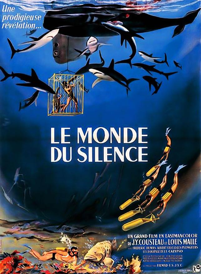 A Csend világa című film eredeti plakátja. Az 1953-ben kiadott film leforgatásához 25 kilométer filmet használtak el a végleges változatba ennek mindössze tizede került be. A Csend világát később sokan támadták a forgatás közben alkalmazott, nem túl környezettudatos módszerekért: a Calypso legénysége lemészárolt egy csapat cápát, amik a hajó miatt (véletlenül) megsérült bálna miatt jöttek a környékre, illetve Cousteau dinamitot is robbantott egy korallzátonynál. A film Oscar-díjat kapott, a kapitány pedig később jobban odafigyelt a környezetre.
