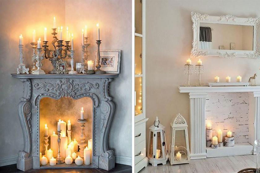 A tűz imitálható gyertyákkal. Ez meghitt hangulatot teremt bármelyik lakásban. A fényt meg lehet sokszorozni, ha a gyertyák mögé tükör vagy tükröződő tapéta kerül.