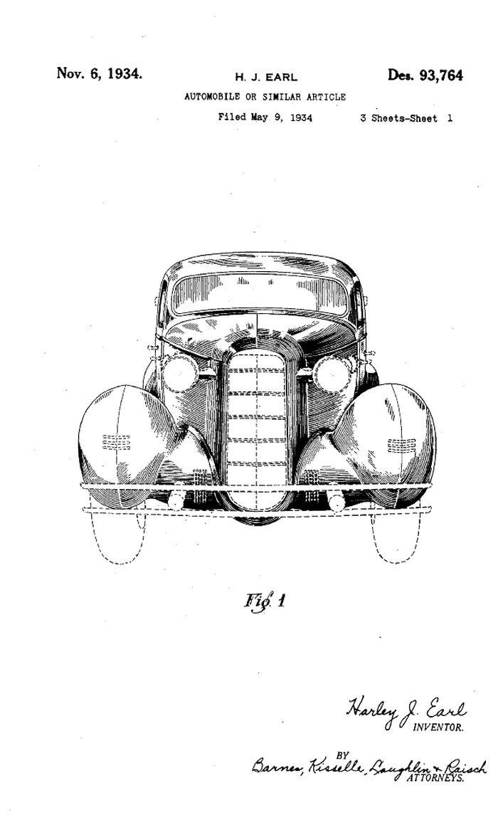 1934 LaSalle szabadalmi rajz, Harley Earl