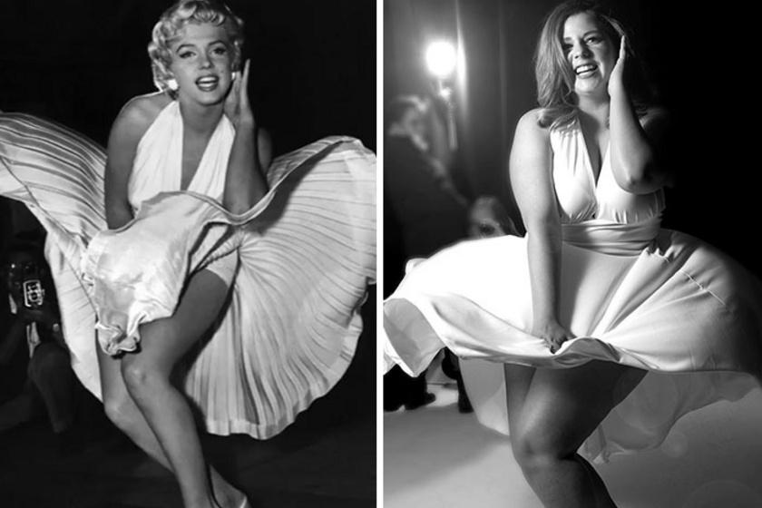 """""""Nem próbálok úgy kinézni, mint ezek a sztárok. Csak lemásolom a pózt, a ruhát és a fotót. De én vagyok rajta, Sierra, méghozzá teljesen természetesen"""" - mondta a Bored Pandának. Itt éppen Marilyn Monroe ikonikus képét másolta le."""