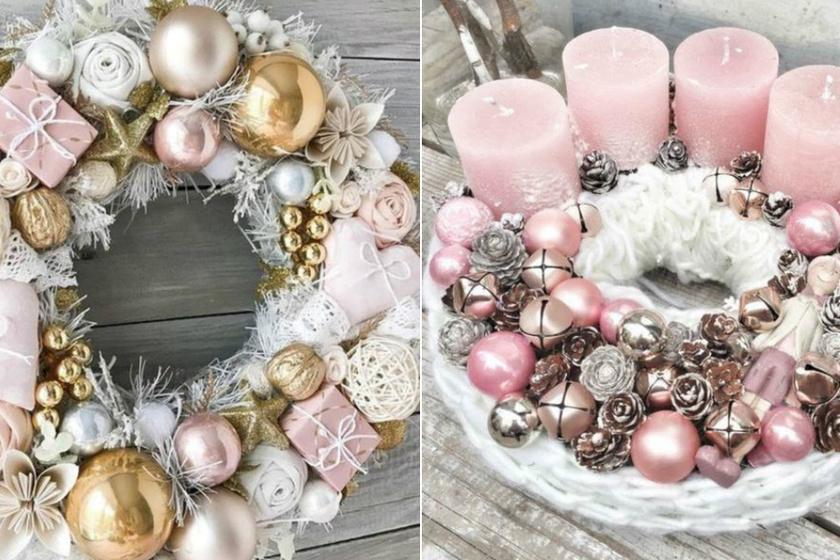 A rózsaszínről nem épp a karácsony jut az ember eszébe először, pedig nagyon jól illik a finom, gyöngyházas gömbdíszekhez ez a szín, és tökéletesen passzol a fehér koszorúalaphoz is.