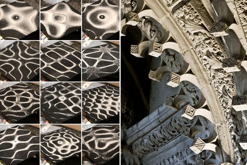 Balra homokból kirajzolódott Chladni-ábrák, jobbra a kápolna hasonlóan mintázott kockái.