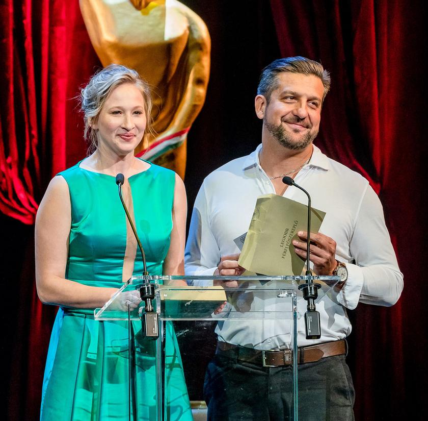 Tenki Réka és Csányi Sándor 2019 áprilisában megrendezett 4. Magyar Filmdíj-gálaesten