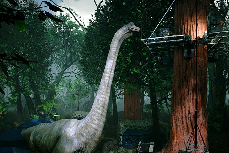 Néhol meg is lehet érinteni a dinoszauruszt.